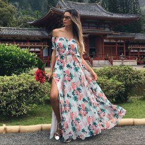 Lulu's Mint Floral Print Two Piece Maxi Dress XS